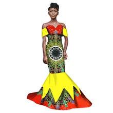 2017. aasta uus sügise pikk kleit Aafrika tribal rahvuslik tuule trükkimine lühikeste varrukatega pluss suurus Aafrika Bazin Riche Maix kleidid WY1543