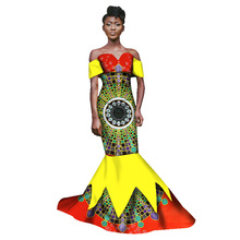 2017 Uusi Syksy Long mekko Afrikkalainen Tribal National Wind Tulostus Short Sleeve Plus Koko Afrikka Bazin Riche Maix Mekot WY1543