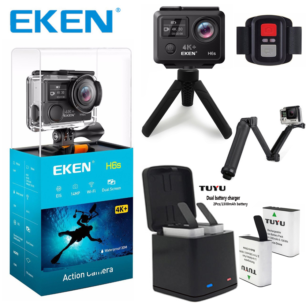 Original EKEN H6S 4K+ Ultra HD Action Camera Built-in Ambarella A12 Chipset 4K@30fps 1080p@60fps EIS waterproof Action Camera 2017 arrival original eken action camera h9 h9r 4k sport camera with remote hd wifi 1080p 30fps go waterproof pro actoin cam
