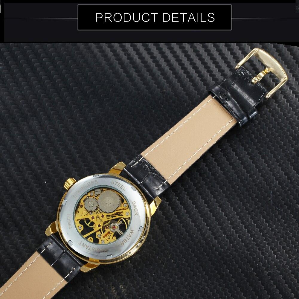 HTB13k87av1H3KVjSZFHq6zKppXaC 2019 FORSINING 3D Logo Black Gold Men Mechanical Watch Montre Homme Man Watches Top Brand Luxury Leather WINNER Skeleton Design