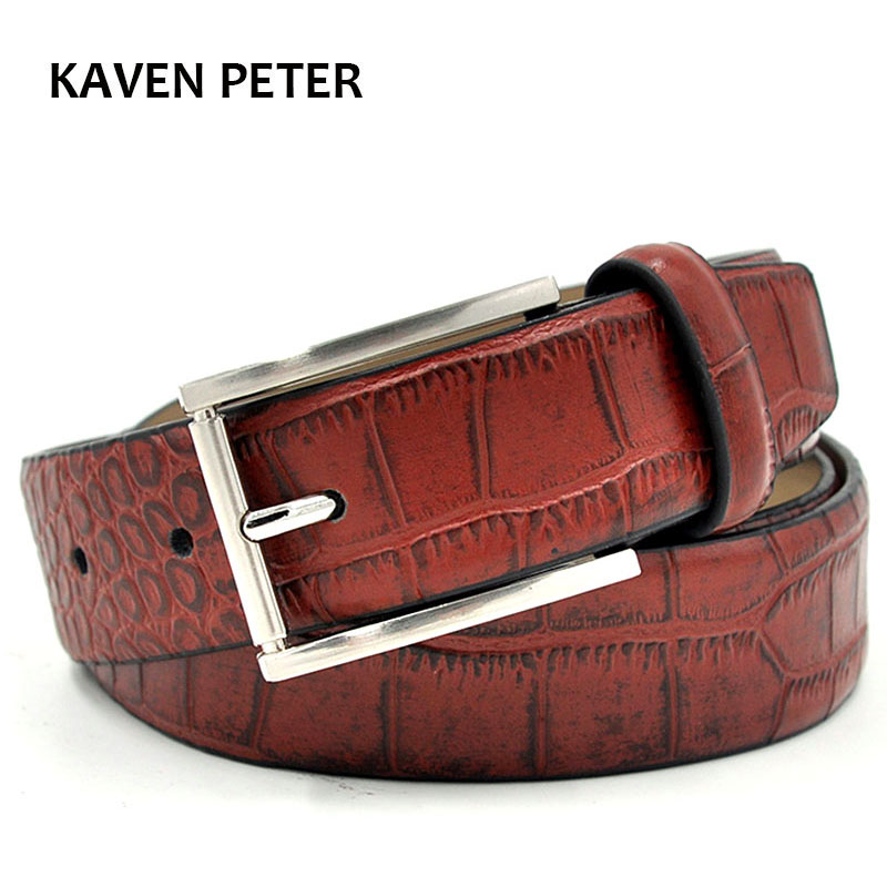 ნიანგის ქამარი მამაკაცები ნამდვილი ტყავის მოდური აქსესუარები ძვირადღირებული Cowskin Crocodile Pattern Belts Red Brown Buckles metal
