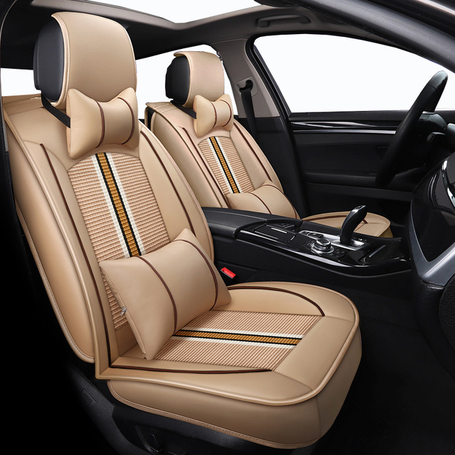 Front Rear Ice Silk Leather Auto Car Seat Covers For Citroen Berlingo Peugeot Volvo S60 Ford Kuga Jeep Renegade Bmw Cars
