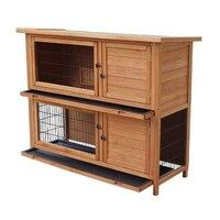 48 2 яруса водонепроницаемый кролик клетка хомяк курица Клетка деревянный дом клетка для домашних животных фермы SKU32917099