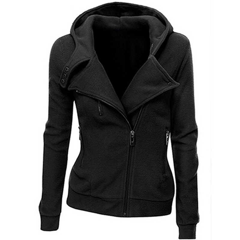 Women's Thick Hooded Jacket Long Sleeve Hoodie Sweatshirt Zip Outerwear