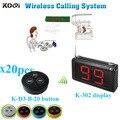 Система подкачки ресторанного обслуживания с K-302 монитором K-D-3 кнопкой передатчика (1 дисплей + 20 кнопок для настольного звонка)