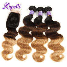Ombre Bundles With Closure 3 Brazilian Body Wave Human Hair 1b/4/27 Blonde Lace NonRemy