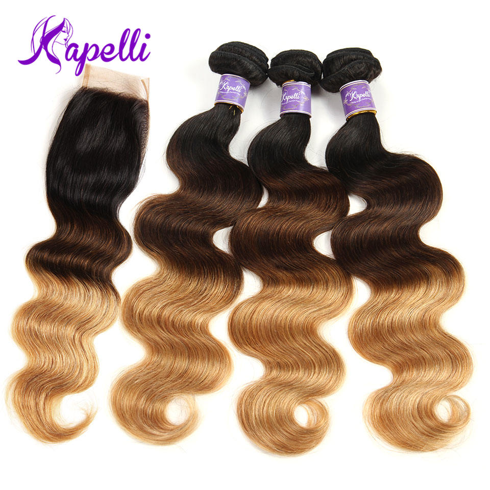 Ombre Bundles With Closure 3 Bundles With Closure Ombre Brazilian Body Wave Human Hair 1b/4/27 4x4 Blonde Lace Closure Remy Hair