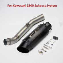 Z800 Motorcycle Exhaust System Mid Middle Link Pipe Slip On Exhaust Tip Baffler Pipe Escape For Kawasaki Z800 2013-2016