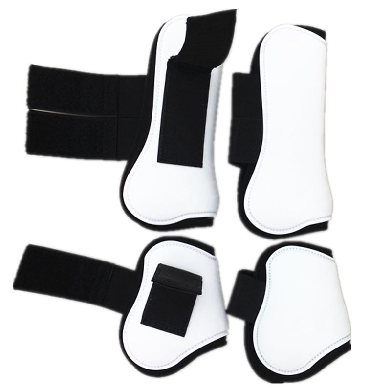 One Set White Horse Tendon Boots Polyurethane Shell  Neoprene Lining Blue Jumping Protective Boots Horse Jumping Pprotection