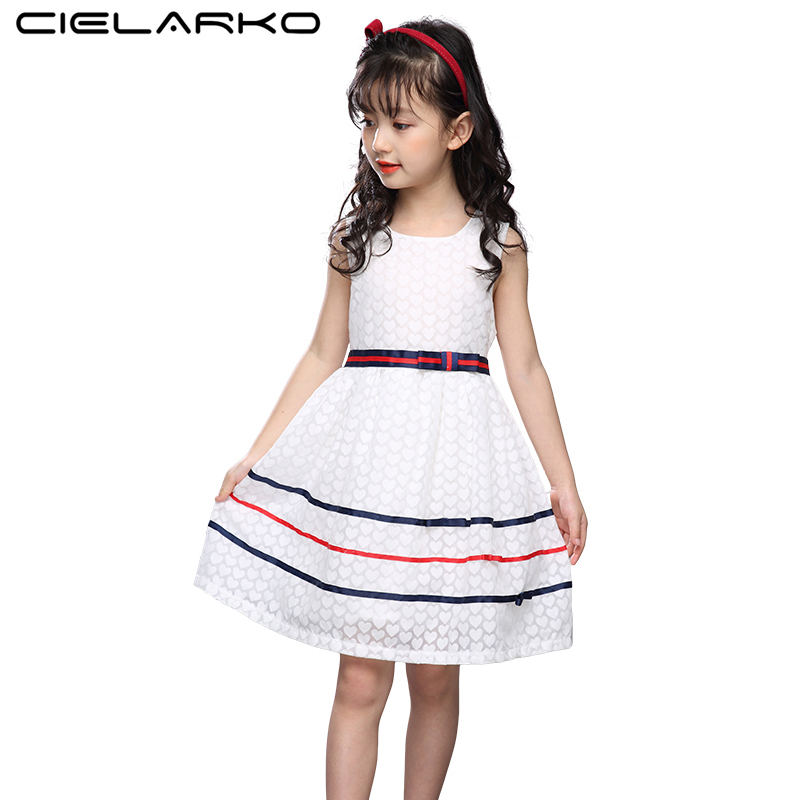 Cielarko Baby Girls Dress Sleeveless Casual Cotton Kids Dresses Summer White Children Party Frocks Design Clothing for Girl baby girl summer dress children res minnie mouse sleeveless clothes kids casual cotton casual clothing princess girls dresses page 2