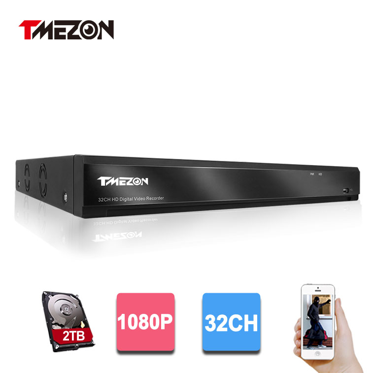 Tmezon HD 32 Channel Full 1080P Video Recorder DVR NVR Security Surveillance System Support Analog AHD  CVI TVI IP  CCTV Camera zosi 1080p 8ch tvi dvr with 8x 1080p hd outdoor home security video surveillance camera system 2tb hard drive white