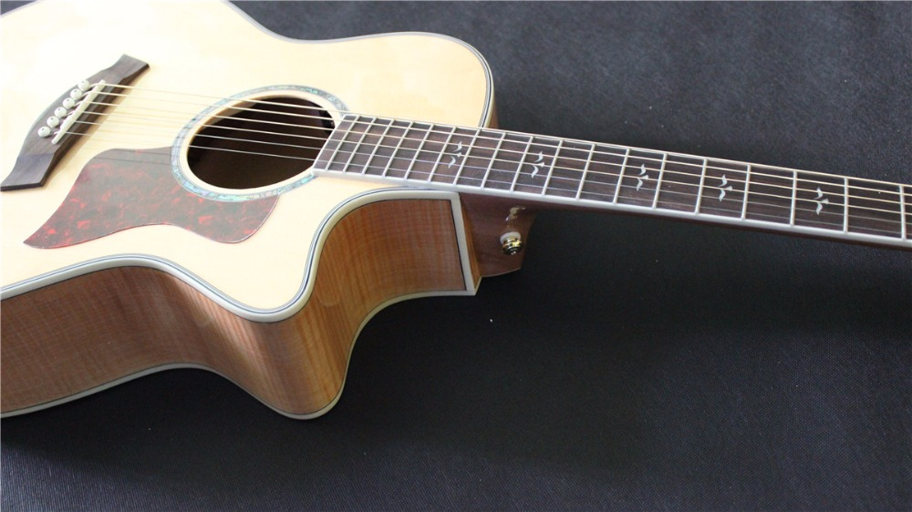 free shipping New arrival solid wood top acoustic guitar single cut electric acoustic guitar free shipping top quality solid spruce top j 185ec acoustic guitar natural wooden acoustic guitar