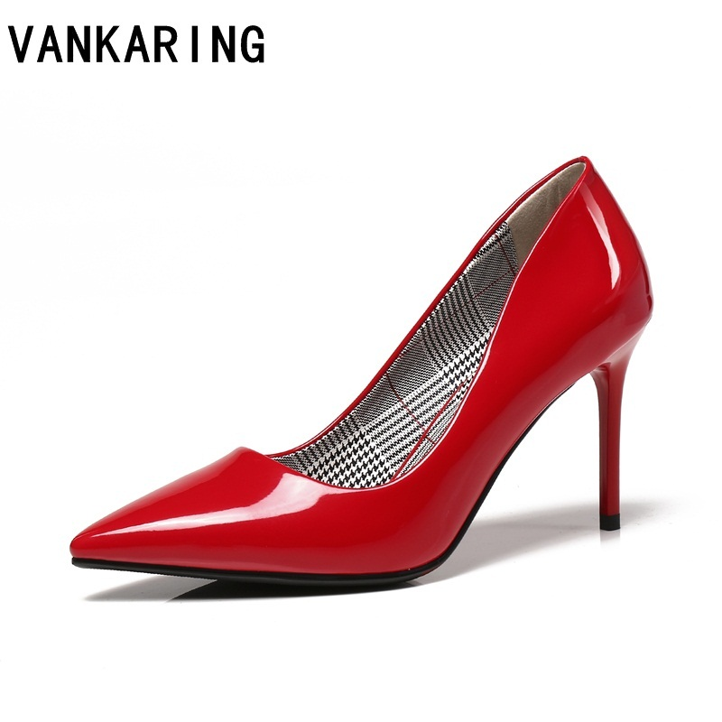 VANKARING brand shoes sexy pointed toe red black women nude OL patent leather formal pumps ladies high heels office lady shoes