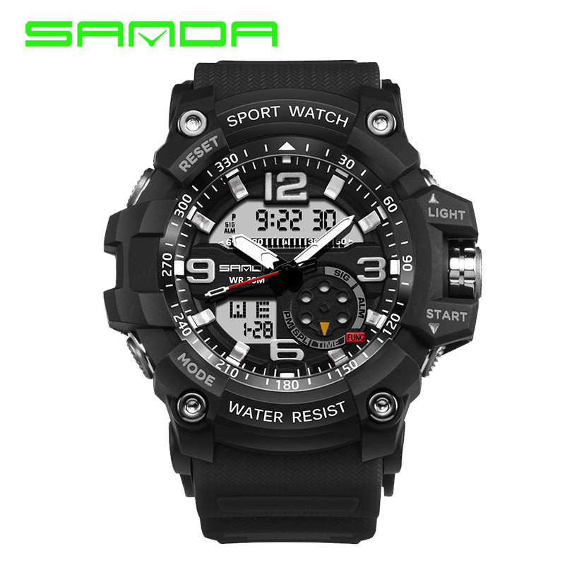 Sanda G Style Shock Waterproof Outdoor Sports Watches Men Quartz Watch Clock Digital Military LED Wrist Watch Relogio Masculino