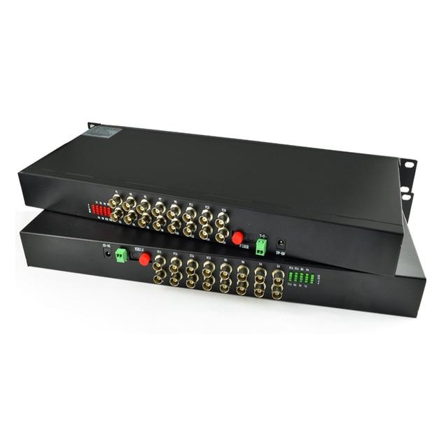 16 Channel Video Fiber Optical Media Converters Transmitter Receiver +RS485 Data - 1U 19'' Rack Mountable CCTV Analog Cameras