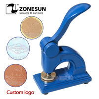 ZONESUN Design Customize Logo Embossing Seal Stainless Steel Stamp for Office Bussiness Document For Paper Inital Name Card