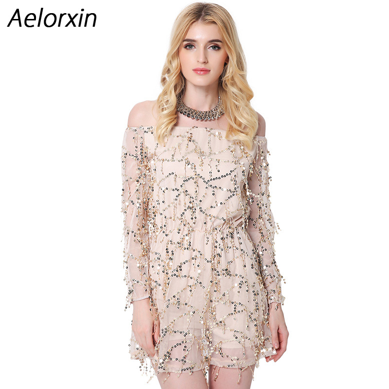 Buy Cheap Aelorxin 2017 Women Sexy Mini Summer Dress Slash Neck Vestidos Sequined Ukraine Party Dresses Brazil Female Vestidos Mujer