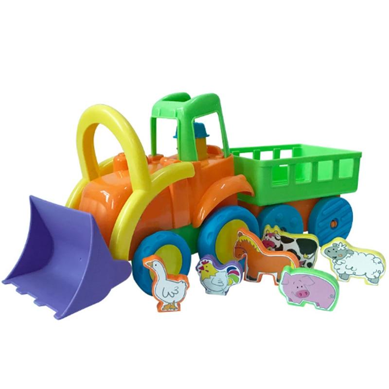 Dessin animé infantile 0-3 ans bébé modèle en plastique jouet ferme tracteur Set jouets pour garçons apprentissage précoce voiture éducative cadeaux d'anniversaire