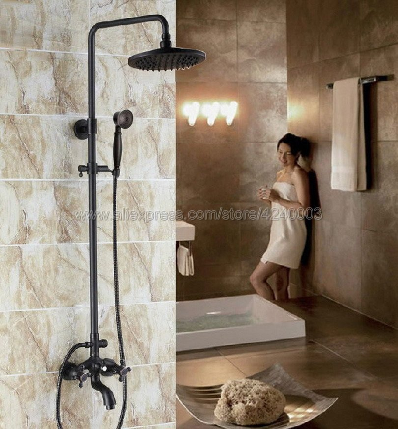 oil rubbed bronze bathroom rainfall shower faucet set bathtub mixer tap with hand sprayer wall mounted bath shower sets krs454