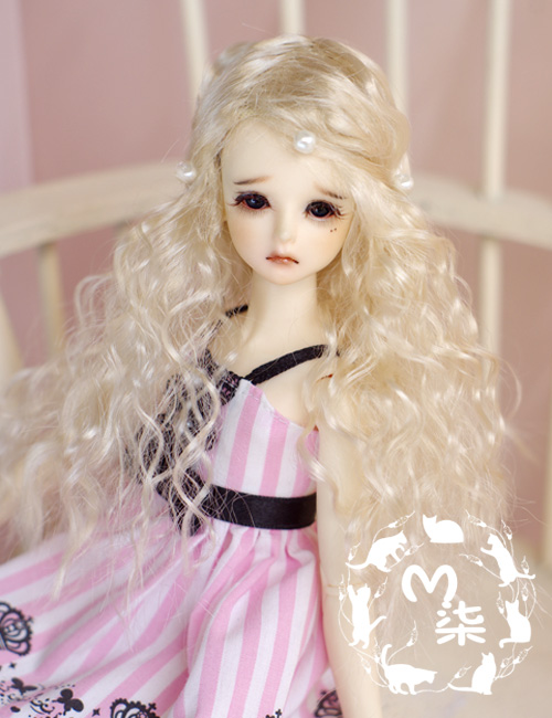 New 3-4inch 9-10cm Noble Pale Golden Vampire Curly Wig For 1/12 BJD doll BJD Wig