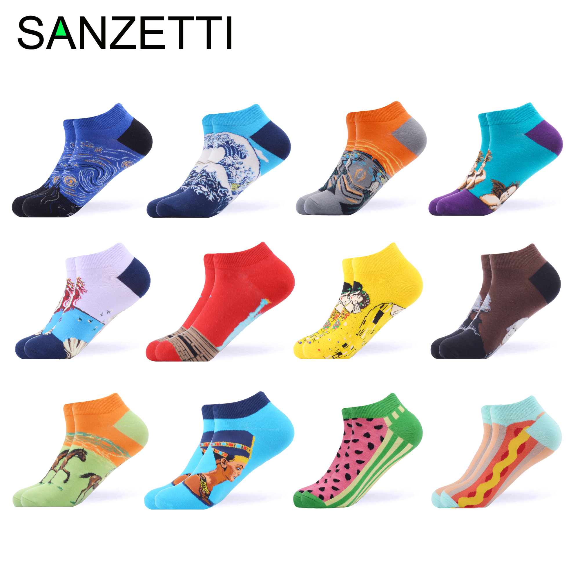 SANZETTI Men Summer Casual Combed Short   Socks   Colorful Happy Hip Hop Ankle   Socks   Animal Fruit Pattern Painting Plaid Boat   Socks