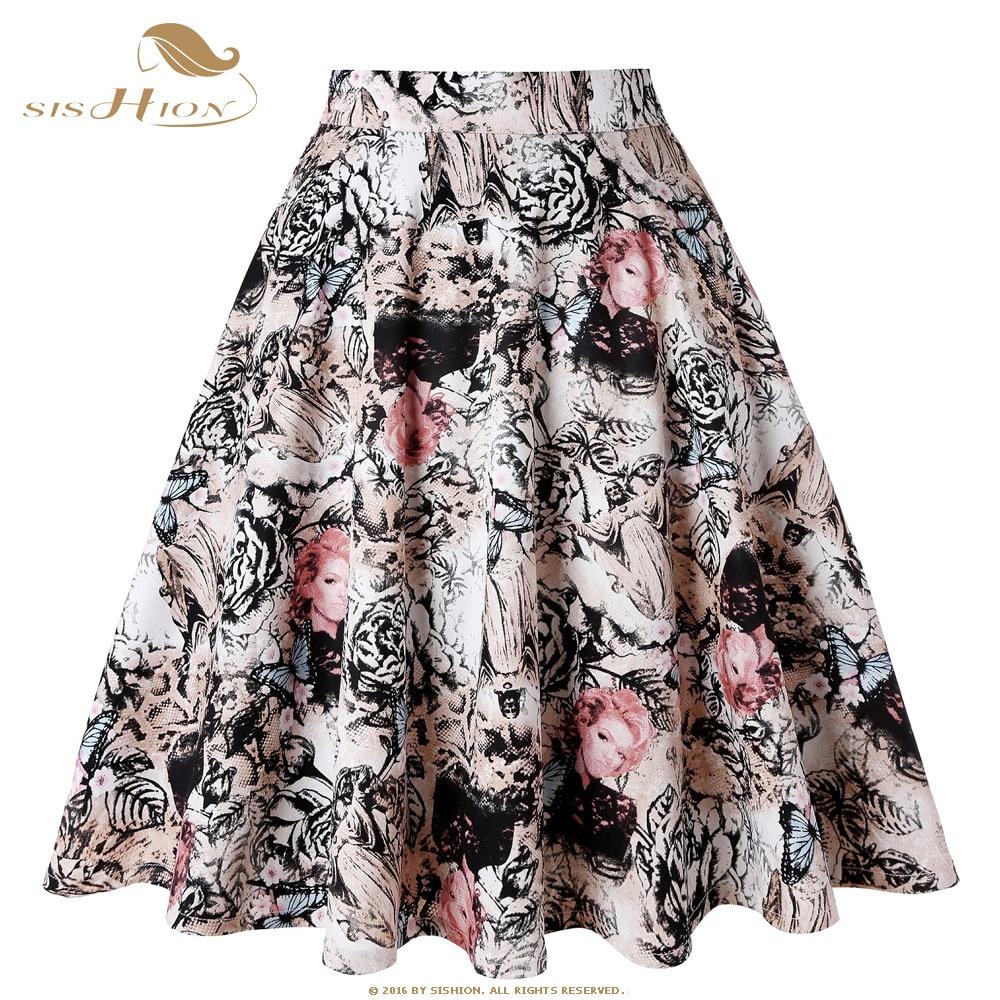 094131cf3 SISHION 2019 faldas Mujer faldas mariposa Jesús patrón Floral impresión más  tamaño falda negra verano Falda corta tutú jupe femme