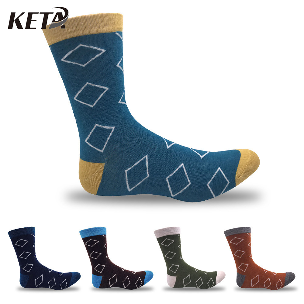 KETA Brand New Men Socks With Print Diamond Casual Crew Socks For Men Fashion Colorful Business Dress Socks Meias 5Pairs
