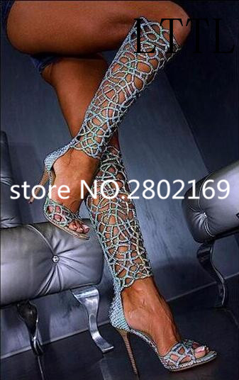 2017 New Arrival Fashion Drop Shipping Women Knee High Blue Long Booties Gladiator Branded Fashion Thin High Heels Women Sandals