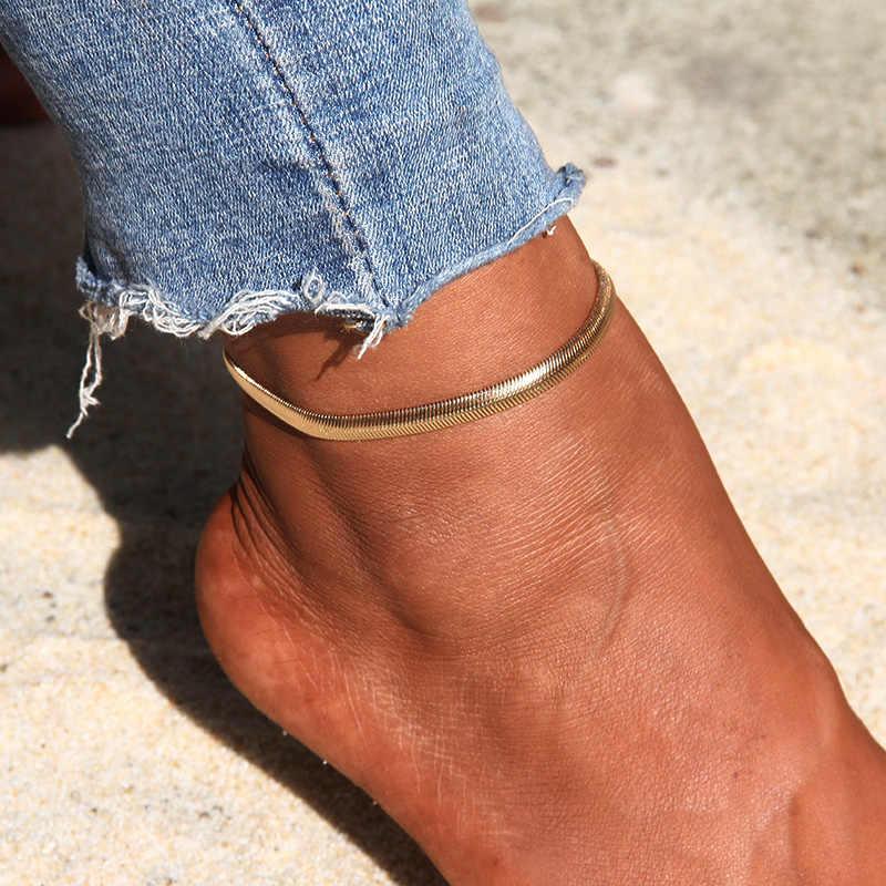 อินเทรนด์เงินทองสี Simple งู Chain Anklets ฤดูร้อนรองเท้าแตะเท้าเปล่า Charm ข้อเท้าสร้อยข้อมือผู้หญิงเครื่องประดับ