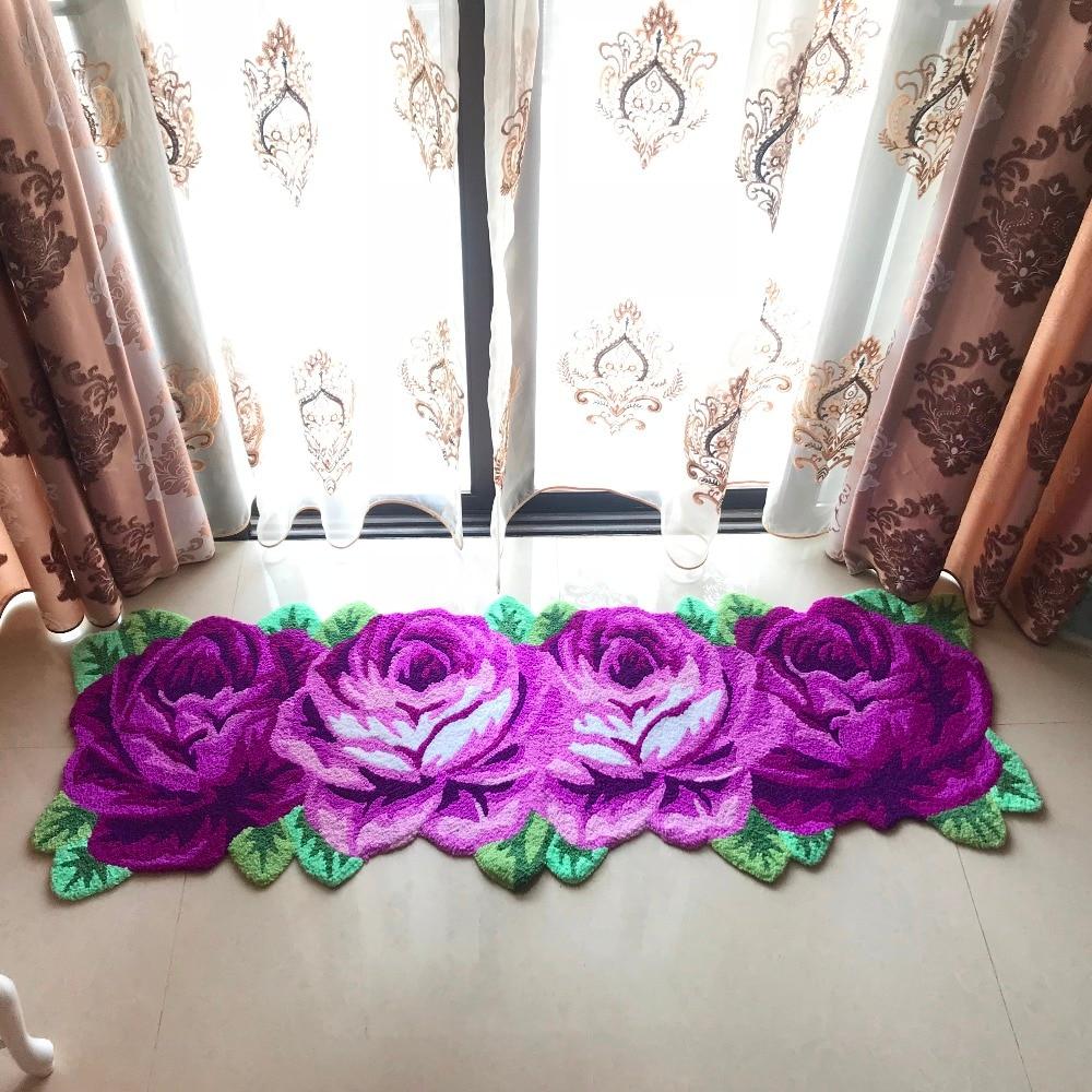 Free shipping handmade 4 rose art rug for bedroom/bedside art carpet romantic rose 165X60cm/180X62cmFree shipping handmade 4 rose art rug for bedroom/bedside art carpet romantic rose 165X60cm/180X62cm