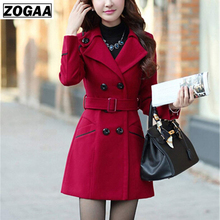 ZOGAA Womens Wool Coat Winter Spring Fashion Long Trench Women Warm Clothes Slim Fit Blends Female Solid Woolen Overcoat