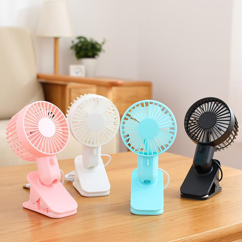 Color : White Air Cooling Fan Cute Flower Round Fan Mini USB Handheld Portable Desktop Electric Fan Home Office Personal Fans