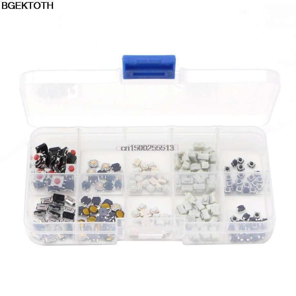 250Pcs Tactile Button Switch 10 Models Tactile Button Switch Micro Button Switches Remote Control 50pcs lot 6x6x7mm 4pin g92 tactile tact push button micro switch direct self reset dip top copper free shipping russia