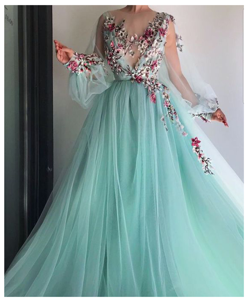 LORIE Long Sleeves Evening Dress Party Gowns Robe De Soiree Formal Prom Dresses Plunging 3D Flowers