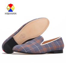 2017 high quality Plaid men Handmade shoes with Genuine leather insole and bottom Party and Banquet men loafers male's flats