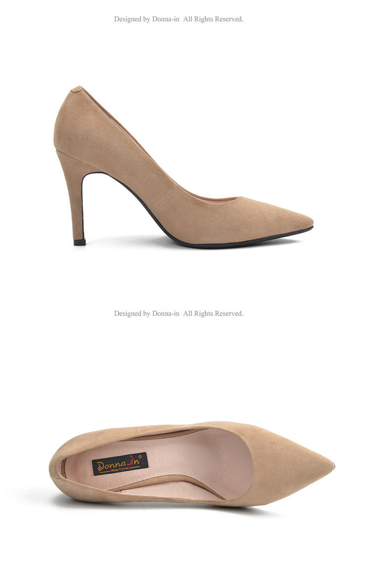 Donna-in 2017 New Style High heels pumps Natural suede leather Sexy Pointed Toe Office Singles Heeled woman Shoes 3255-1 (15)