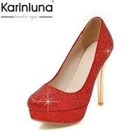 Karinluna جديد كبير الحجم 34-43 جولة تو منصة أحذية امرأة مثير مطرزة العلوي أحمر أسود الفضة عالية الكعب حفل زفاف مضخات