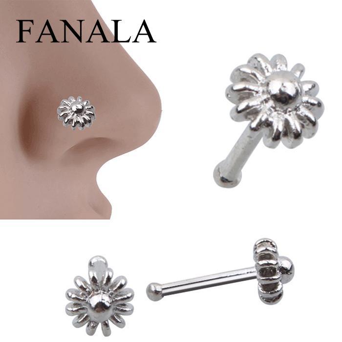 Тела Для женщин 1 шт. цветок Форма пирсинг клип на новые ювелирные изделия Clicker нос кольцо