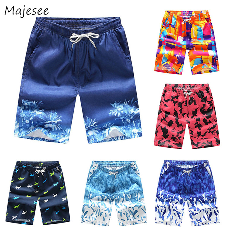 Men   Board     Shorts   2019 Printed Drawstring Loose Simple All-match Korean Style Leisure Mens Large Size Summer Thin Pockets Trendy