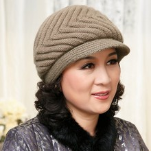Winter cap hat rabbit the elderly hat knitted hat autumn and winter female fashion mother's new year gift warm rabbit fur cap