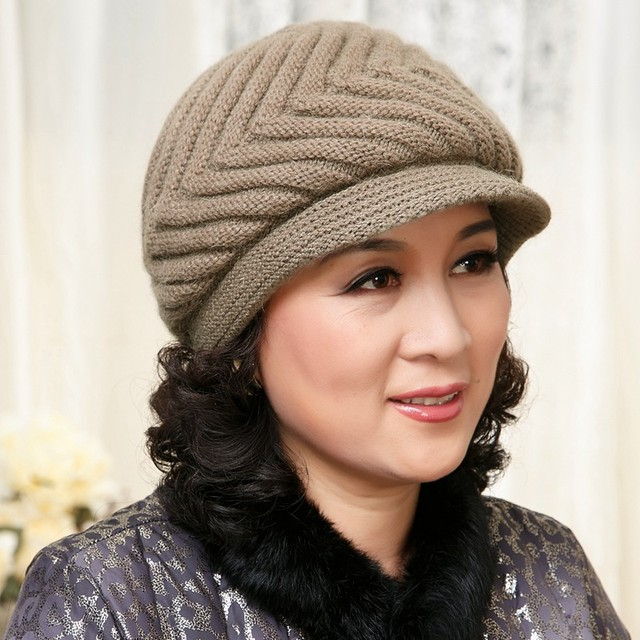 7aecdd46bccbcb Winter cap hat rabbit the elderly hat knitted hat autumn and winter female  fashion mother's new