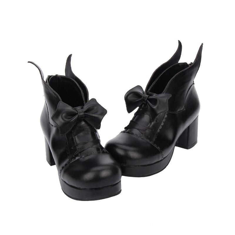 Bowtie Pu Parti Nouvelle black Angéliques 33 Pompes Lolita Flock Légales Mentions Flock brown Mori formes Chaussures Cm 6 Cosplay Cool Haute 47 Femmes Fille Lady Plates Black Femme Talons wZ4SZUECq