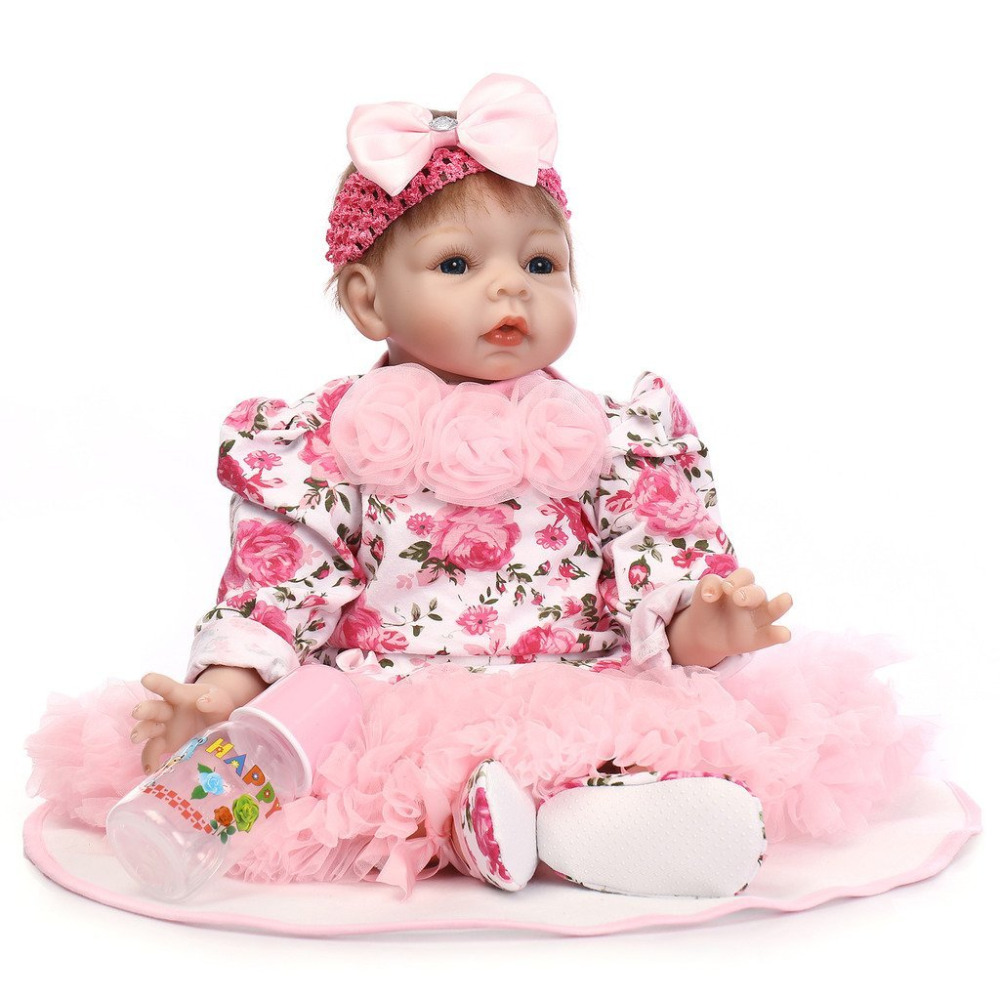 Dolls Toys & Hobbies Nicery 20-22inch 50-55cm Bebe Reborn Doll Soft Silicone Boy Girl Toy Reborn Baby Doll Gift For Children Red Flowers Bady Doll Convenience Goods