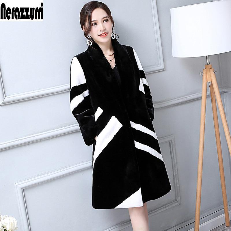 Nerazzurri Faux Fur Coat Women White And Black Contrast Color Luxury Knee Length Imitation Rabbit fur