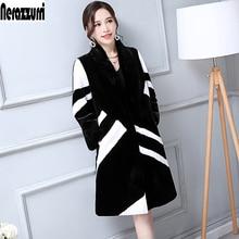 Nerazzurri Faux Fur Coat Women White And Black Contrast Color Luxury Knee Length Imitation Rabbit fur Overcoat Korean Fashion