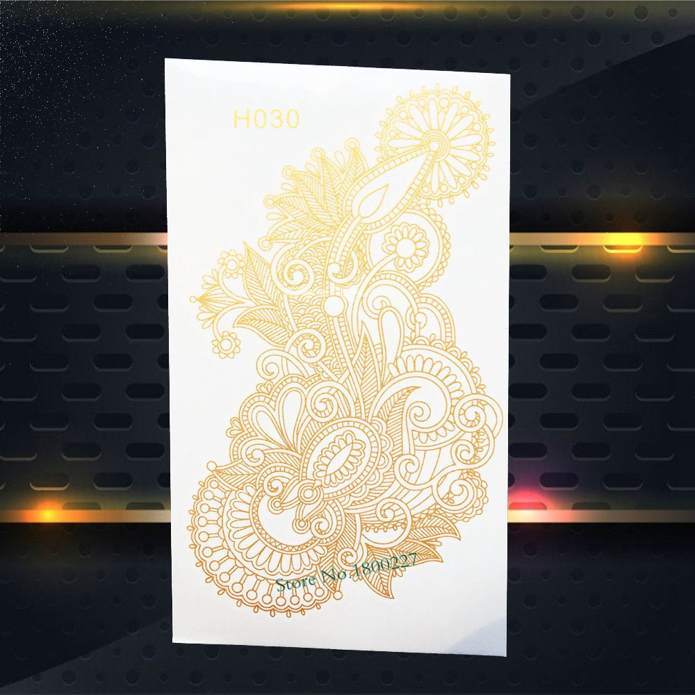 1PC Beauty Women Body Art Gold Metallic Tattoo Henna Mehndi Flower Arm Decals Waterproof Flash Temporary Tattoo Stickers PGH030