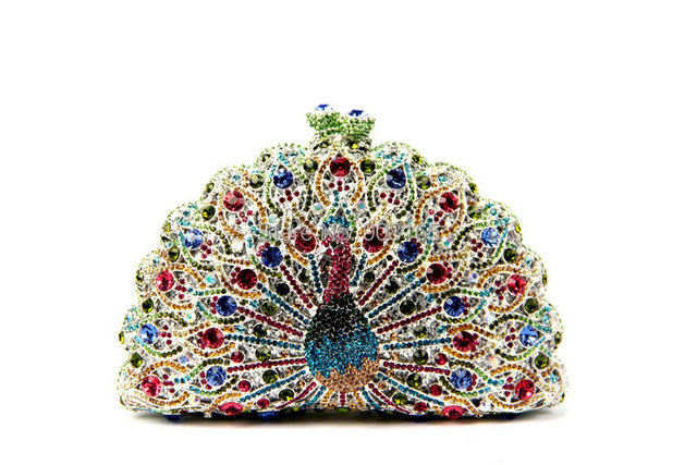 Trendy Peacock Pattern Rhinestone Clutch Bags Party Prom Purse Vintage Solid Bags Party Purse Designer Evening Bags B168#