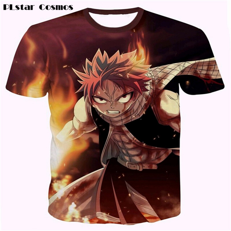 PLstar Cosmos summer Mens Harajuku tee shirts Classic Anime Fairy Tail T-shirts 3D t shirt Natsu Dragneel Characters t shirts