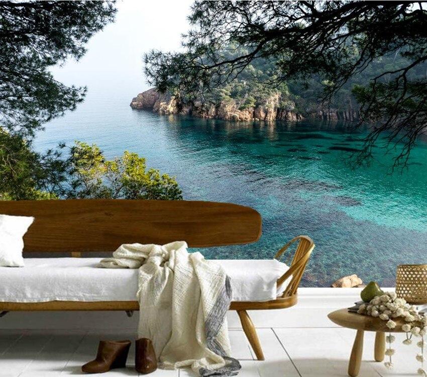 Benutzerdefinierte 3D Wandbilder, Spanien Sea Crag Natur Papel De Parede,  Hotel Wohnzimmer Sofa TV