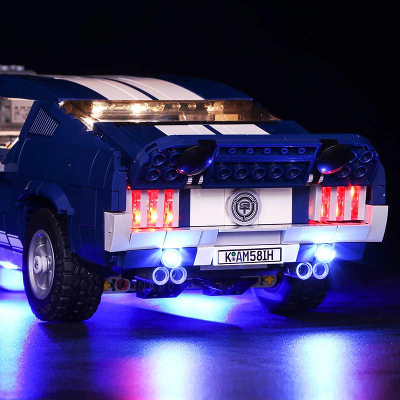 Światła Led do Lego 10265 A B Ford Mustang DIY oświetlenie kreatywne wyścigówka klocki zabawki prezenty (tylko światło + opakowanie na baterie)